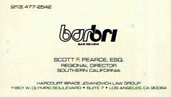 Scott Pearce Bar-Bri Business Card